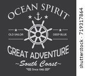 ocean spirit vintage t shirt... | Shutterstock .eps vector #719317864