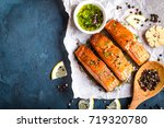 delicious fried salmon fillet ... | Shutterstock . vector #719320780