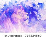 lion face and graphic effect.... | Shutterstock . vector #719324560