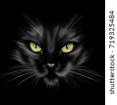 Stock photo hand drawing portrait of a black cat on a black background 719325484