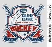 hockey badge logo design ... | Shutterstock .eps vector #719327710