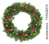 christmas and winter wreath... | Shutterstock . vector #719328373