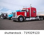 powerful heavy duty big rig red ... | Shutterstock . vector #719329123
