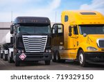 cabover and bonnet semi trucks...   Shutterstock . vector #719329150