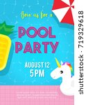 pool party invitation vector...   Shutterstock .eps vector #719329618