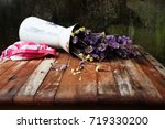 Small photo of Still life dry flowers in vases whit fall old wall mortar means discouraged.