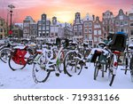 Snowy Bikes In Amsterdam The...
