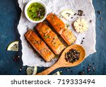delicious fried salmon fillet ...   Shutterstock . vector #719333494