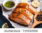 delicious fried salmon fillet ... | Shutterstock . vector #719333500