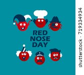 red nose card. vector... | Shutterstock .eps vector #719334934