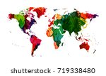 watercolor grunge spots world... | Shutterstock .eps vector #719338480