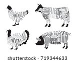 set of  butcher diagrams. cut... | Shutterstock .eps vector #719344633