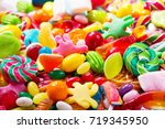 various colorful candies ... | Shutterstock . vector #719345950