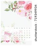 vintage floral calendar 2018... | Shutterstock .eps vector #719349934