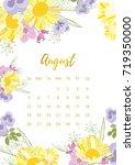 vintage floral calendar 2018... | Shutterstock .eps vector #719350000