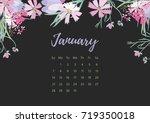 vintage floral calendar 2018... | Shutterstock .eps vector #719350018