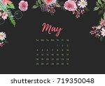 vintage floral calendar 2018... | Shutterstock .eps vector #719350048