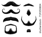 mustaches set hand drawing | Shutterstock .eps vector #719350804