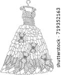hand drawn dress. sketch for... | Shutterstock .eps vector #719352163