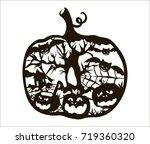 hand drawn vector halloween... | Shutterstock .eps vector #719360320