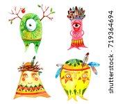 boho monsters set. hand drawn...   Shutterstock . vector #719364694