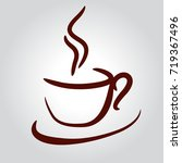 coffee cup brown on white... | Shutterstock .eps vector #719367496