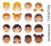 cartoon children avatar set.... | Shutterstock .eps vector #719367556