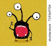 cute black monster with... | Shutterstock .eps vector #719369704
