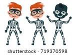 Skeleton Costume. Cute Boy In...