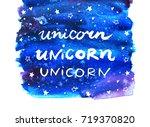 unicorn. watercolor background. ... | Shutterstock .eps vector #719370820