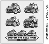 set of off road suv car labels... | Shutterstock .eps vector #719372728