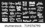 set of handwritten city names... | Shutterstock .eps vector #719376790