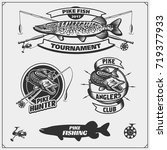 set af fishing labels with a... | Shutterstock .eps vector #719377933