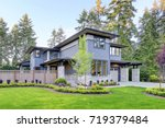 luxurious new home with curb... | Shutterstock . vector #719379484