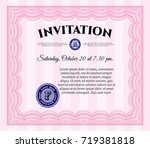 pink invitation. cordial design.... | Shutterstock .eps vector #719381818