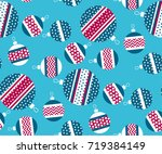blue and red christmas bauble... | Shutterstock .eps vector #719384149