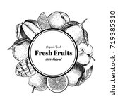 vector frame with fruits and... | Shutterstock .eps vector #719385310