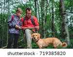 father and daughter with small... | Shutterstock . vector #719385820