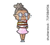 cartoon crying woman wearing... | Shutterstock .eps vector #719386936