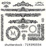 set of vintage calligraphic... | Shutterstock .eps vector #719390554