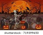 vector halloween skeleton...   Shutterstock .eps vector #719399650