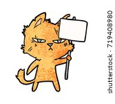 tough cartoon cat with protest...   Shutterstock .eps vector #719408980