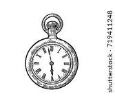 antique pocket watch. vintage... | Shutterstock .eps vector #719411248
