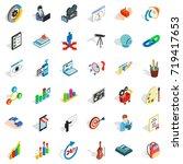 palette icons set. isometric... | Shutterstock .eps vector #719417653