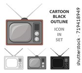 old tv.old age single icon in... | Shutterstock .eps vector #719418949