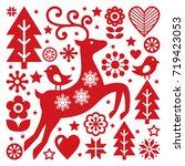 scandinavian christmas vector...   Shutterstock .eps vector #719423053