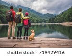 family with small yellow dog... | Shutterstock . vector #719429416