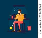 glass blower blows glass. flat... | Shutterstock .eps vector #719430769