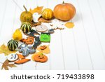 halloween background with... | Shutterstock . vector #719433898
