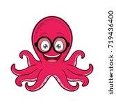 octopus geek wearing glasses | Shutterstock .eps vector #719436400